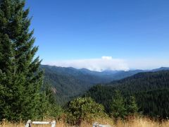 Just past the Oregon/California border looking south at very large forest fire August 2014.