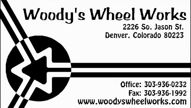 Woody's Wheel Works Business card Black& White